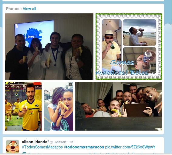 Algunas de las imágenes de apoyo a Dani Alves que se difundieron en Twitter.