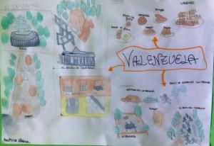 Collage realizado por la alumna Bea Pohrib donde nos presenta Valenzuela en un mapa hecho a mano