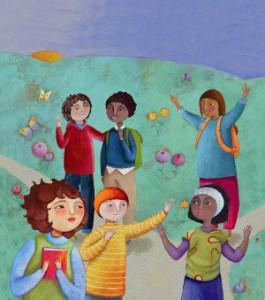 Dibujo grupo de niños en el campo