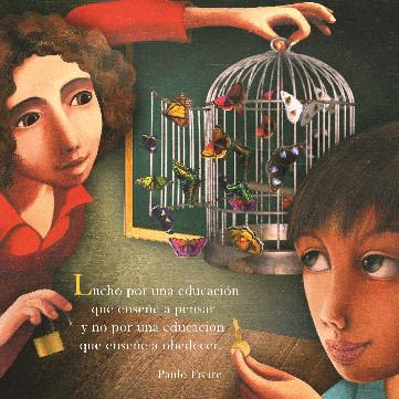 Imagen de niños abriendo la jaula a un pajarito