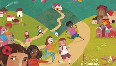 Dibujo de un parque lleno de niños jugando