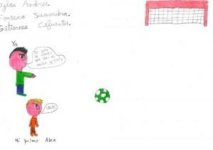 Dibujo infantil de partido de futbol