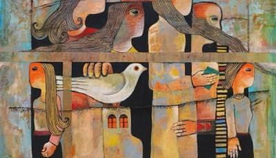 Ilustración con hombres, niños y pájaros