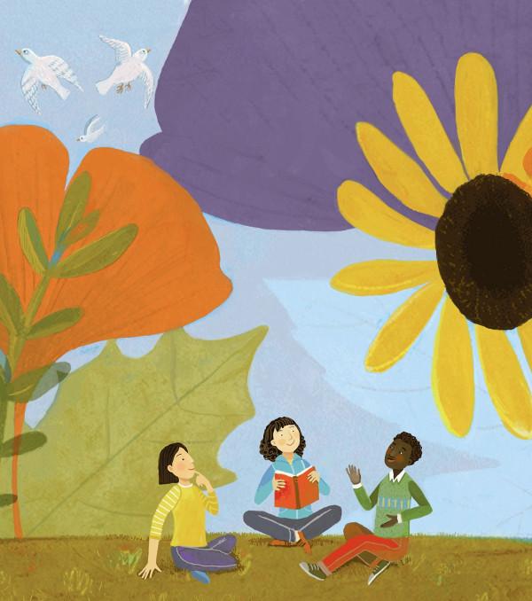 Imagen de niños con una flor