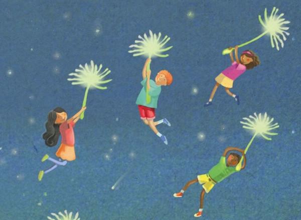 Dibujo de niños volando con flores