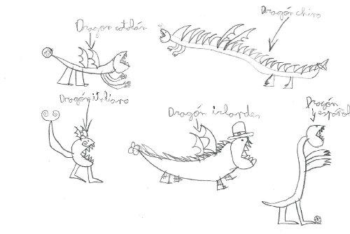 Dibujo de dragones de distintas nacionalidades