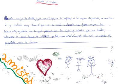 Carta y dibujo sobre la amistad