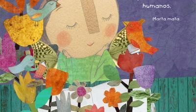 Dibujo de una niña leyendo un libro con pájaros y flores