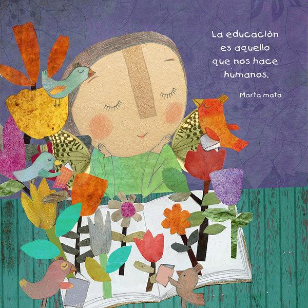 Dibujo de niña leyendo un libro rodeada de pájaros y flores