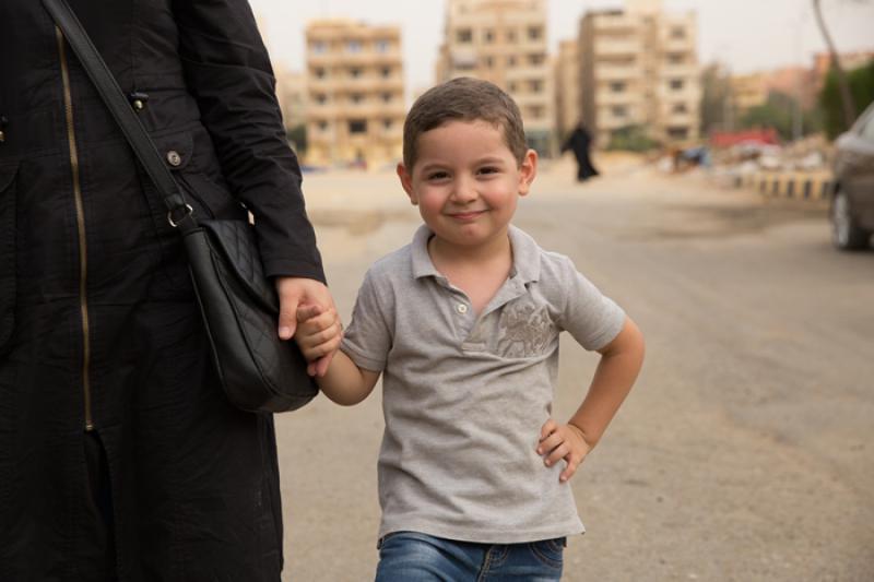 Imagen de un niño refugiado