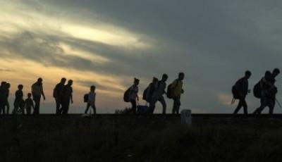 Foto de un grupo de refugiados en Hungría