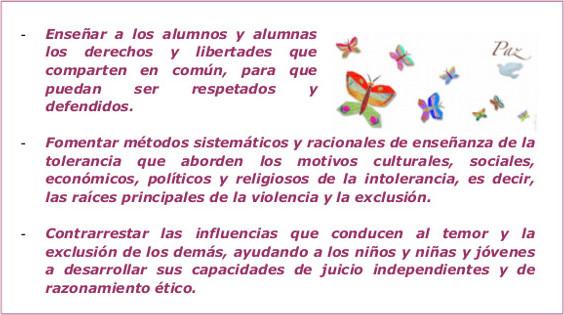 Objetivos para el Día de la Tolerancia