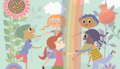 Dibujo de niños jugando al corro alrededor del arco iris