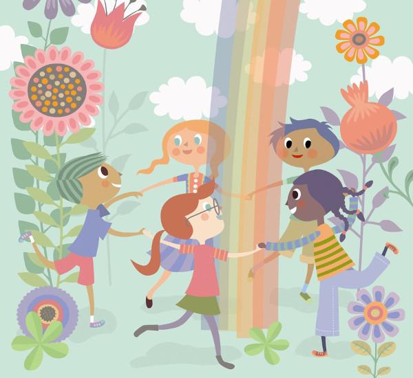 Dibujo de niños jugando al corro alrededor de un arco iris