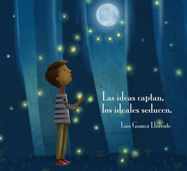 Dibujo de un niño mirando la luna con una luciérnaga en la mano