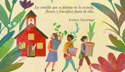 Imagen de tres mujeres saliendo de una escuela con macetas con plantas