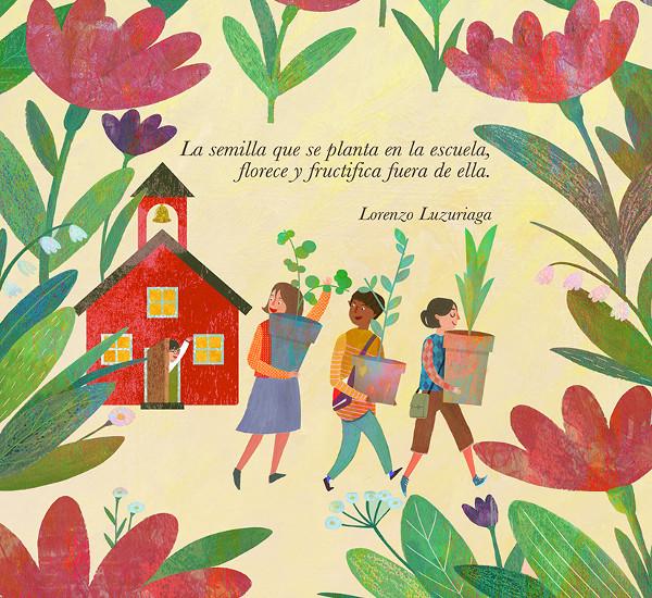 Dibujo de tres personas saliendo de una escuela con plantas en macetas