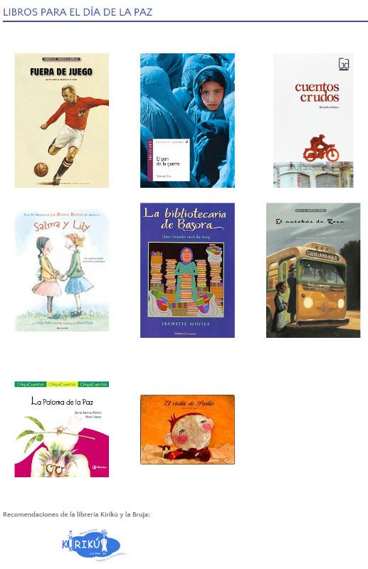 Imagen de la página de libros sobre la paz