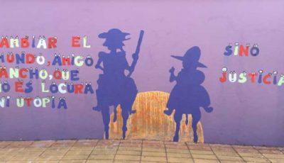 Imagen de una pintura de Don Quijote en los muros del colegio