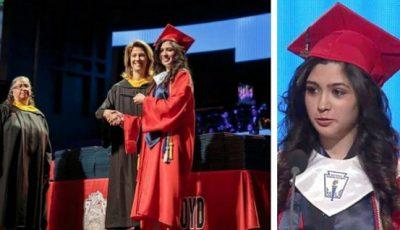 Imágenes de la estudiante recogiendo el diploma