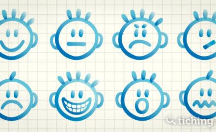 dibujo de varias caras infantiles con gestos