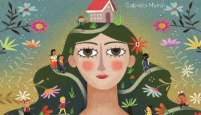 Dibujo de una joven/colina con una casa en la cabeza