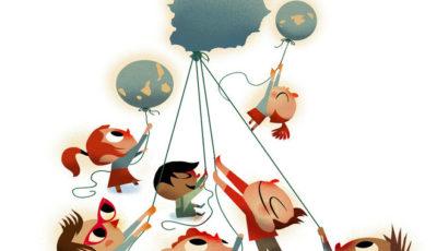 Niños con un globo que es España