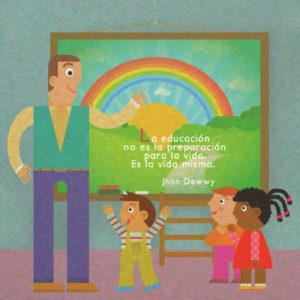Dibujo de un profesor y unos niños delante de una pizarra