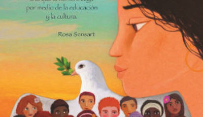 Dibujo de un grupo de jóvenes ante la paloma de la paz