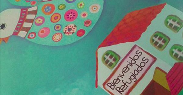 Imagen de una paloma coloreada y una escuela con el cartel Bienvenidos refugiados