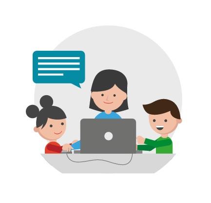 logo de la campaña, unos niños y una maestra con un ordenador