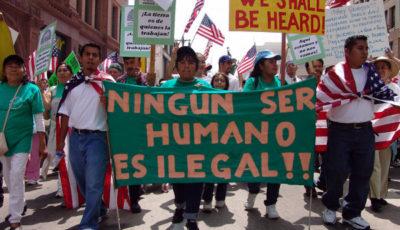 Inmigrantes en una manifestación