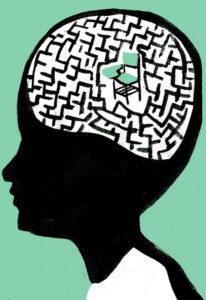 Dibujo de un cerebro con un laberinto y una silla escolar