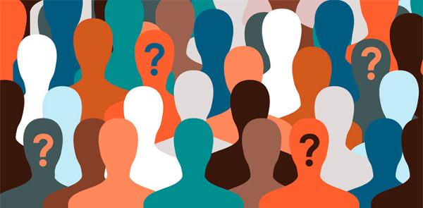 siluetas de colores con interrogaciones