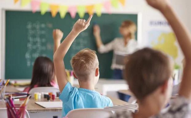 un niño levanta la mano en clase