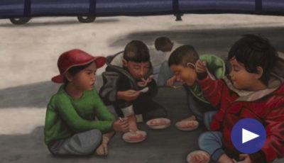 Dibujo de un grupo de chicos comiendo en el suelo