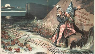 Imagen del Tío Sam intentando salvar las ideas estadounidenses