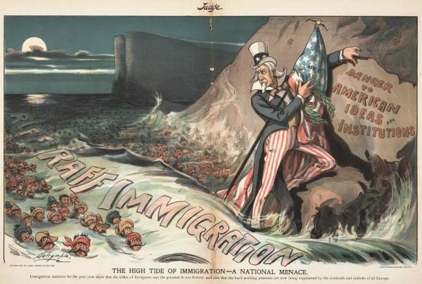 Imagen del Tío Sam intentando salvar las instituciones estadounidenses