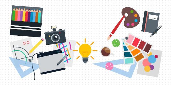 Dibujo de varias herramientas de trabajo: lápices, cámara, acuarelas...