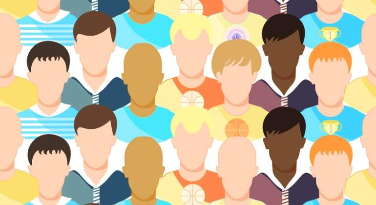 dibujo con personas iguales pero con diferentes colores de piel