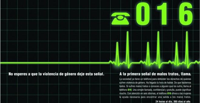 anuncio del 016, teléfono contra la violencia