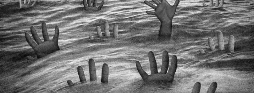 imagen del mar lleno de manos suplicantes