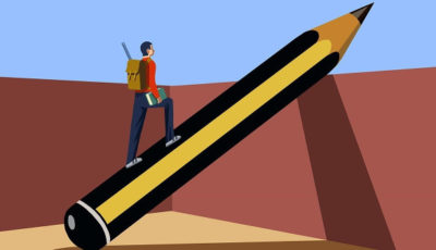 ilustración de un joven caminando por un lápiz inclinado