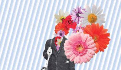 imagen de una persona sin cabeza y unas flores