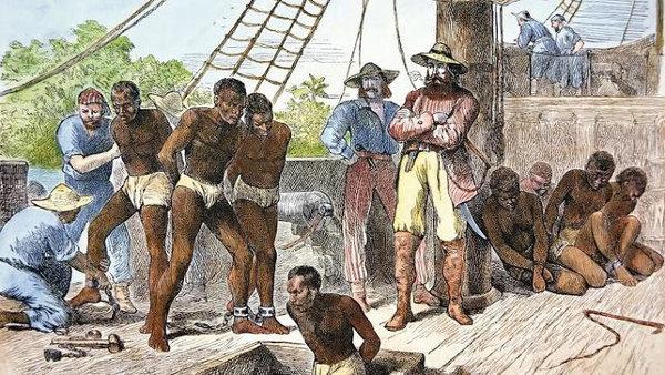 grabado representando esclavos llegados a Barcelona en barco