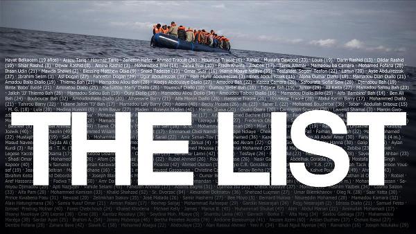 foto de una patera con la lista de nombres de los fallecidos