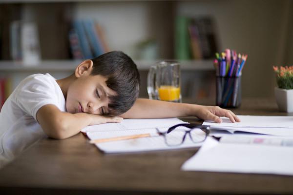 imagen de un niño dormido sobre la mesa
