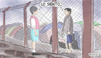 Viñeta de Pedripol en la que dos personas se dicen lo siento desde ambos lados de una valla