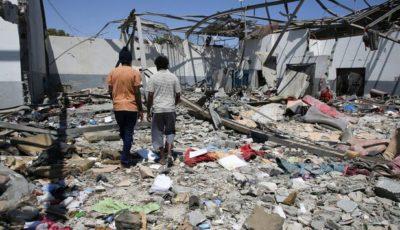 Escombros del centro de detención bombardeado