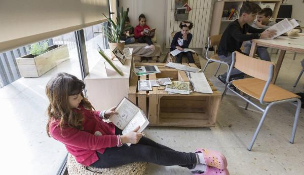 alumnos del colegio Els Encants de Barcelona